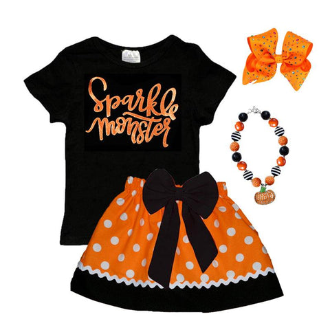 Sparkle Monster Shirt Orange Black