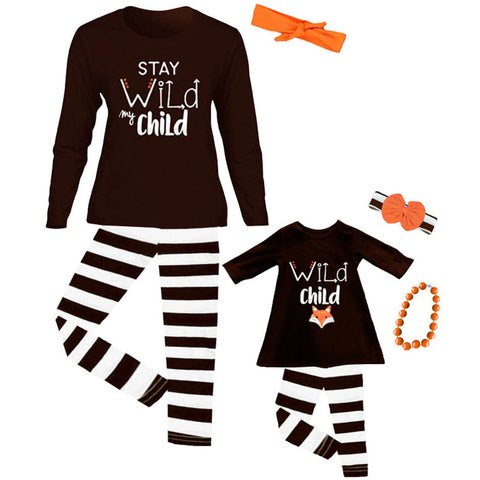 Stay Wild Child Brown Stripe Mommy Me Top And Leggings
