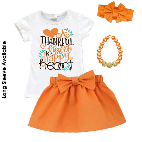 Thankful Happy Heart Outfit Orange Top And Skirt