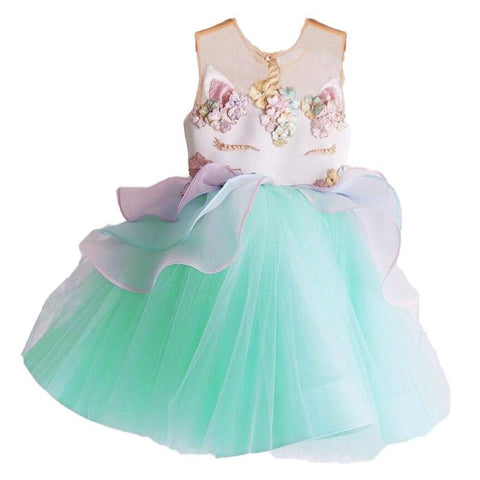 Unicorn Tutu Blue White Flowers Dress
