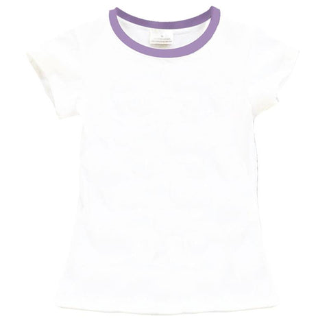 White Shirt Lavender Purple Neckline Cap Short Sleeve