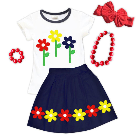 Yellow Red Navy Daisy Top And Skirt