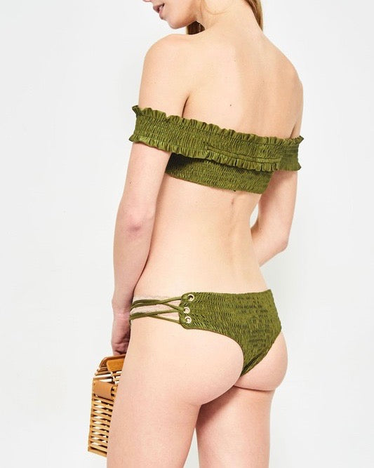 california girl - off the shoulder smocked bikini set - olive
