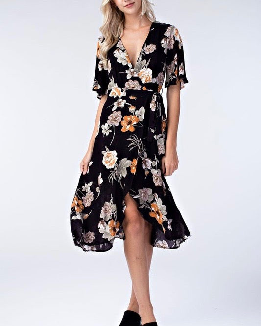 honey belle - floral wrap dress - black/multi