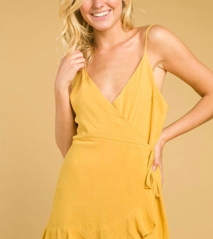 honey belle - soft rayon wrap dress - gold