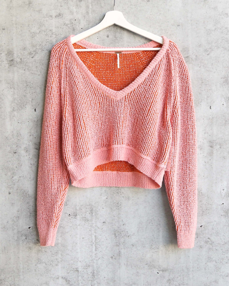Free People - High Low V Textured Slouchy Sweater - Hot Tropics