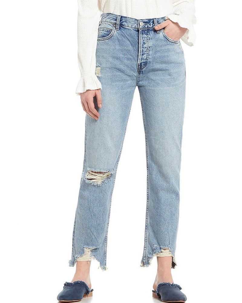 Free People - Chewed Up Mid Rise Straight Leg Denim Jean - Indigo Blue