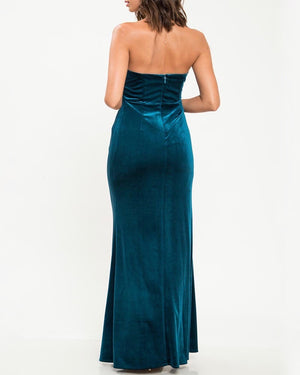 twist front strapless velvet maxi dress with thigh high slit - teal