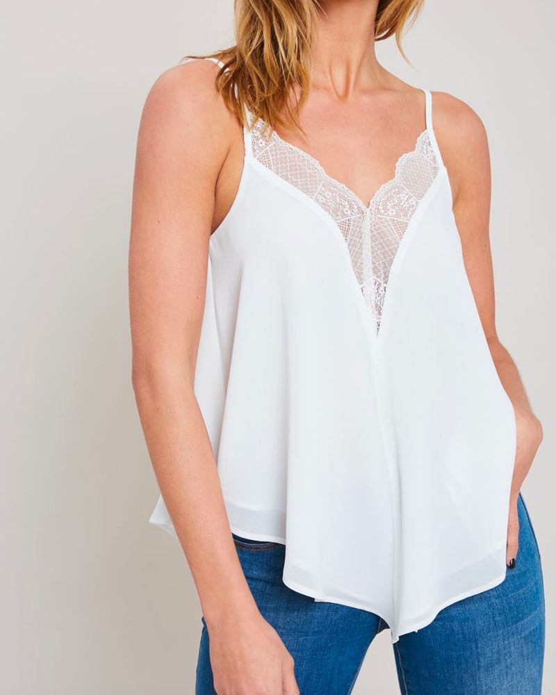 Lace Trimmed Lined Cami Tank Top in Ivory