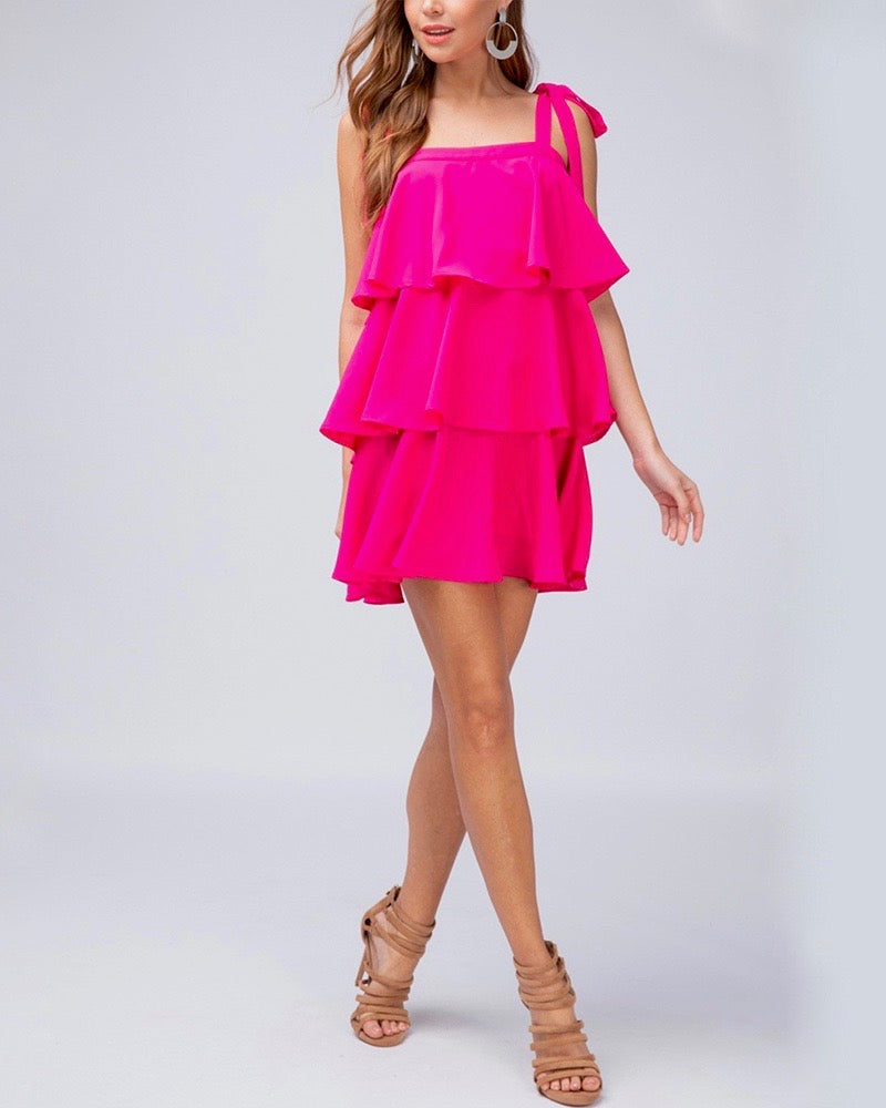 Tiered Ruffle Square Neck Mini Dress in Fuchsia