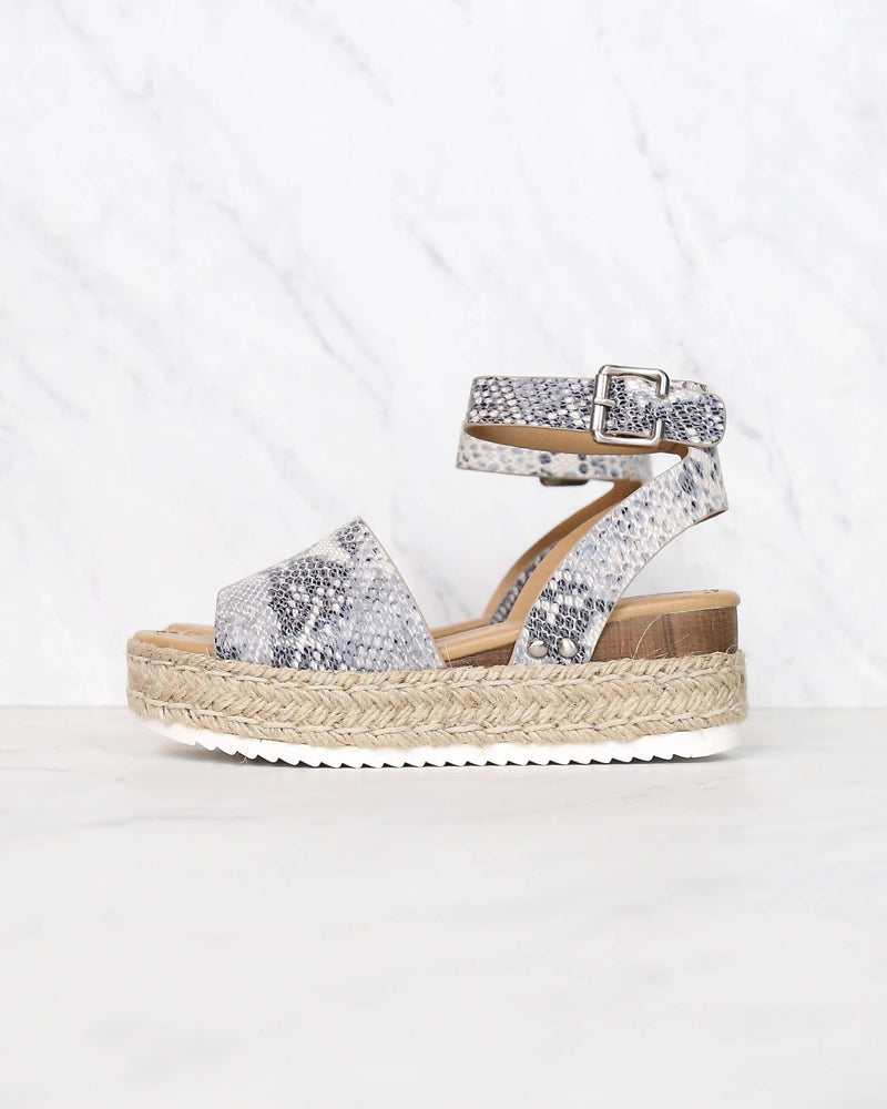 Trendy Sporty Flatfrom Espadrille Sandal with Adjustable Ankle Strap in Beige Python
