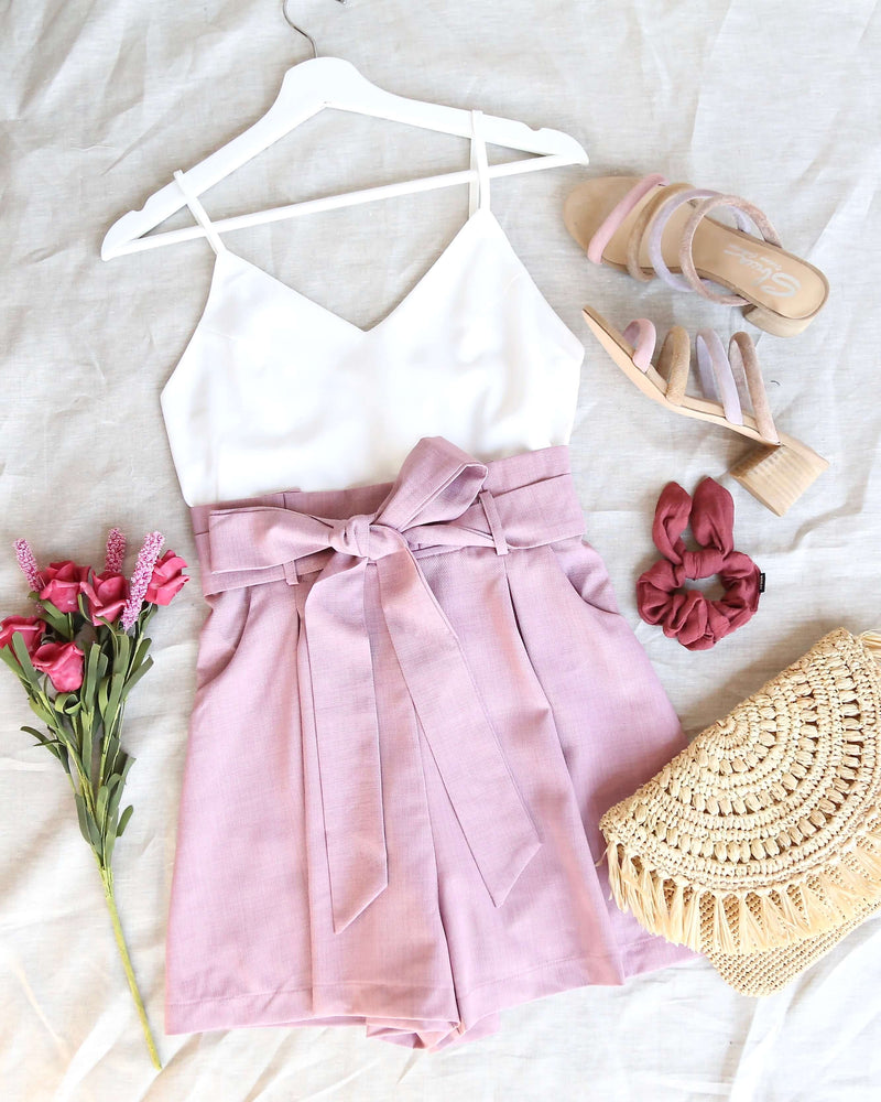 back on my feet paper bag waist romper - rose