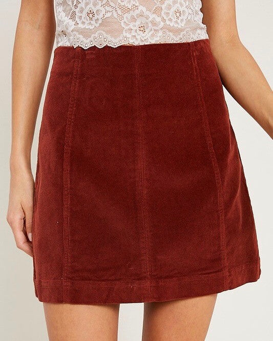 corduroy mini skirt - burl wood