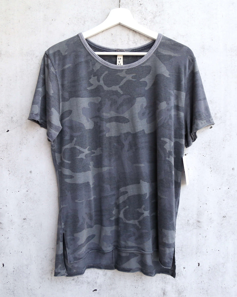 Free People Army Tee in Charcoal