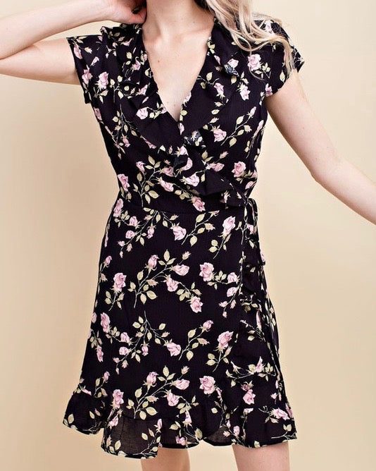honey belle by honey punch - floral wrap mini dress - black/pink