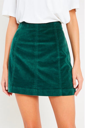 corduroy mini skirt - green