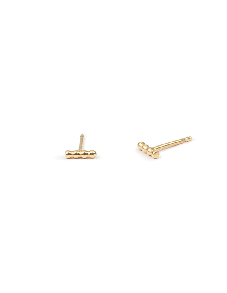 gold halo studs by May Hofman Jewellery
