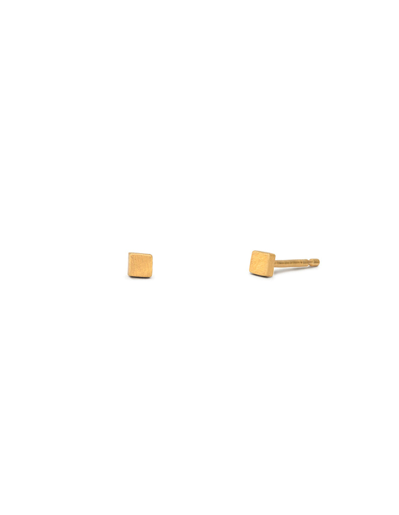 Gold Matte Tiny Square Studs