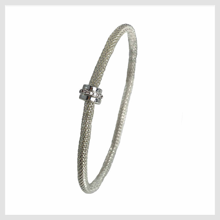 925 Sterling Silver Plated Mesh Chain Stretch Bracelet Crystal Accent Ring - Beads and Dangles