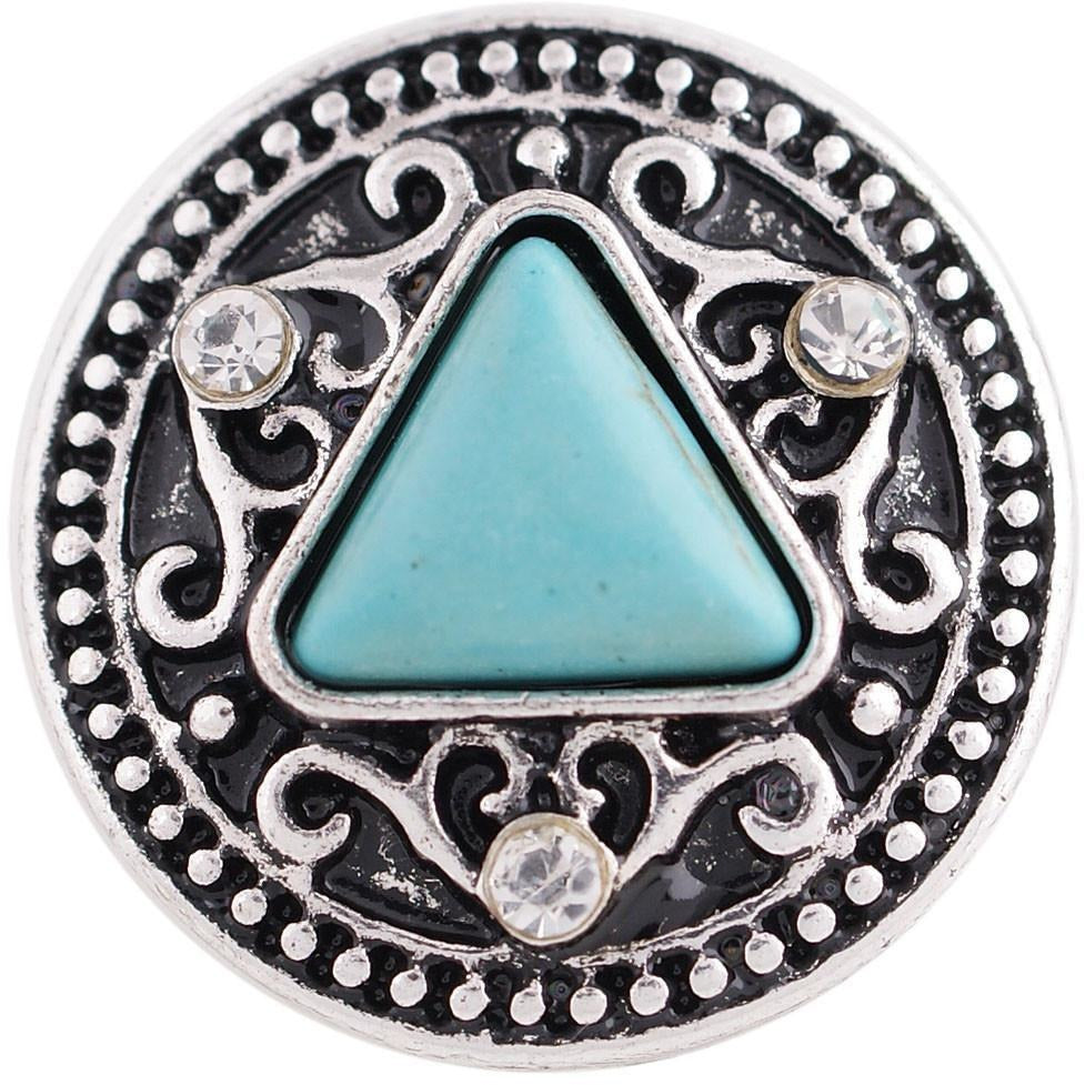 "Chunk Snap Charm Turquoise Stone and Rhinestones 20mm, 3/4"" Diameter - Beads and Dangles"