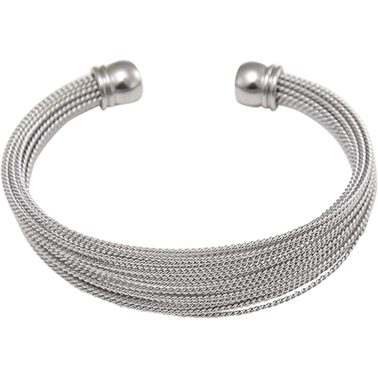 Stainless Steel Cuff Bracelet - Beads and Dangles