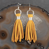 Suede Tassel Earrings - Mustard, Steel Magnolia Jewelry