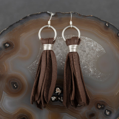 Leather Tear Drop Earrings - Gold - w