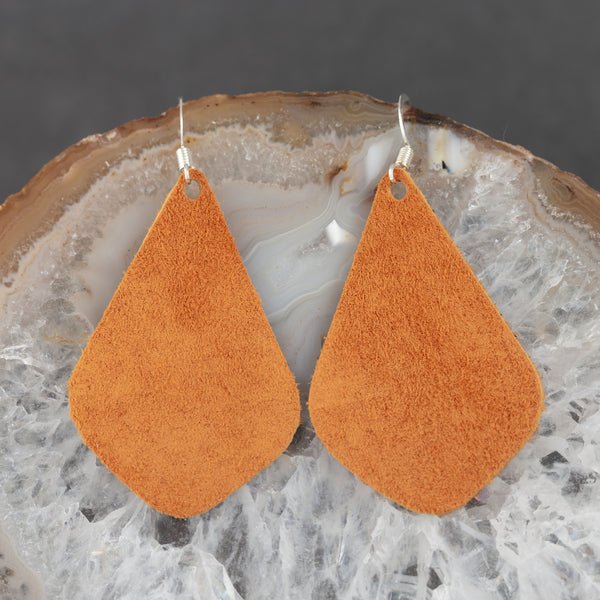 Leather Tear Drop Earrings - Orange