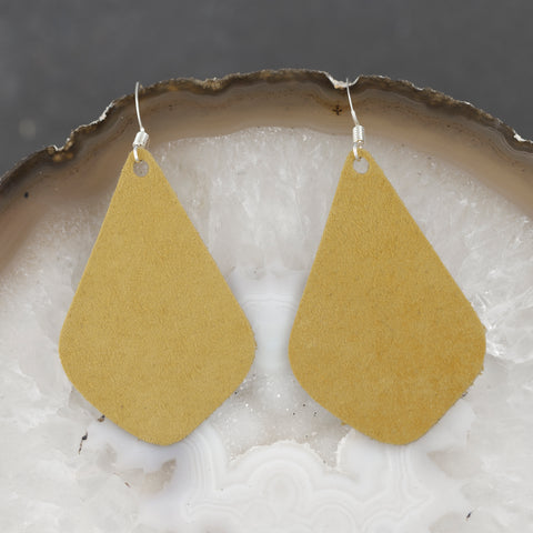 Leather Tear Drop Earrings - Gold