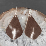 Leather Tear Drop Earrings - Brown & White Hide, Steel Magnolia Jewelry