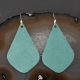 Leather Tear Drop Earrings - Turquoise, Steel Magnolia Jewelry
