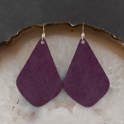Leather Tear Drop Earrings - Purple - w