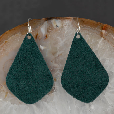 Leather Tear Drop Earrings - Green