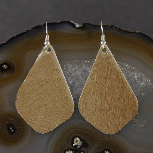 Leather Tear Drop Earrings - Tan - w