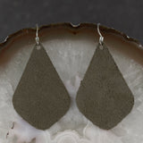 Suede Tear Drop Earrings - Forest Green, Steel Magnolia Jewelry