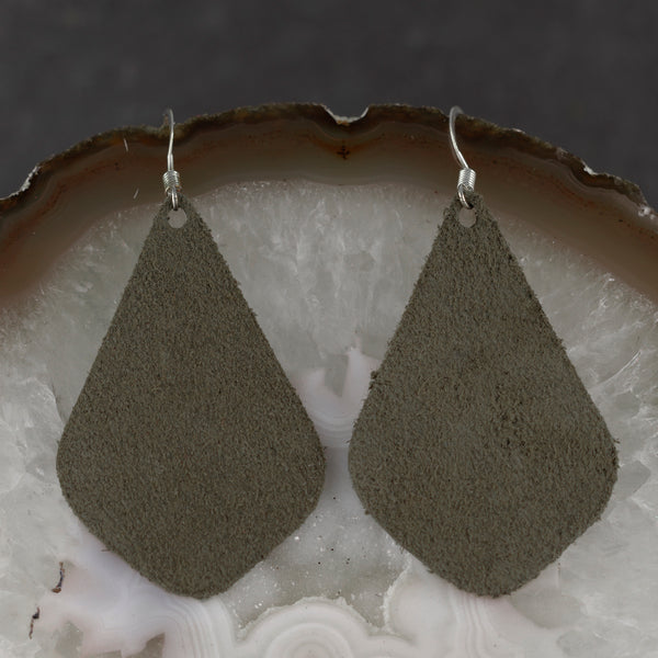 Suede Drop Earrings - Forest Green
