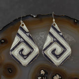 Leather Tear Drop Earrings - Black & White, Steel Magnolia Jewelry
