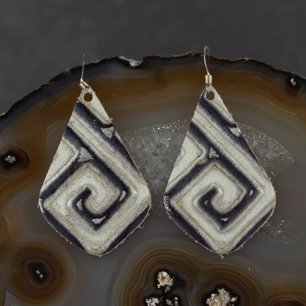 Leather Drop Earrings - Black & White - w
