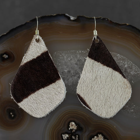 Leather Drop Earrings - Black & White Hide - w