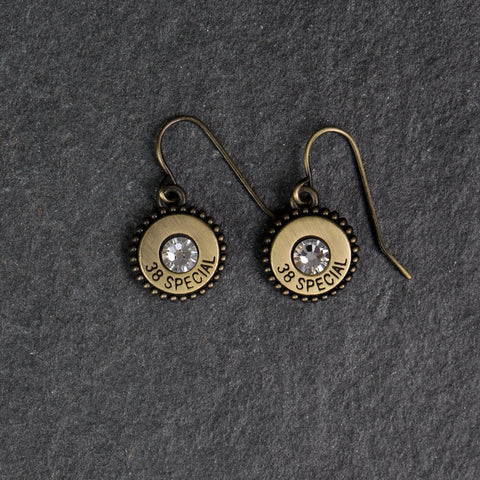 Charm Earrings Gold/Clear Crystals - w