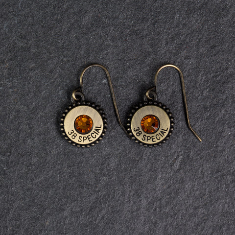 Charm Earrings Gold/Topaz Crystals