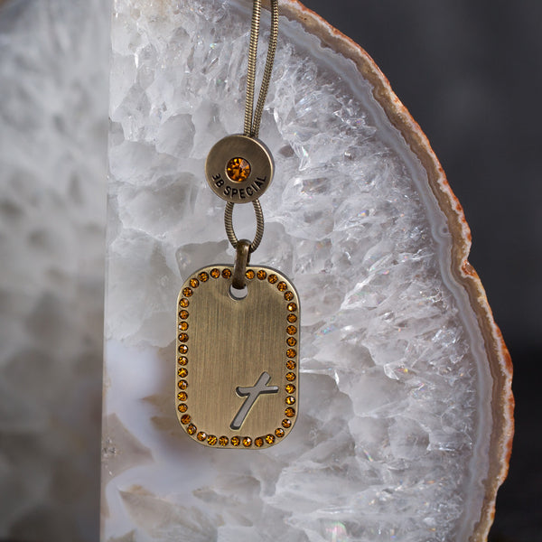 Tilted Cross Tag Gold/Topaz Crystal Necklace w