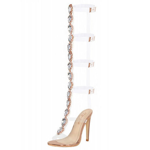 Cutout Gem Clear Stiletto Transparent Strip Boots Sandals