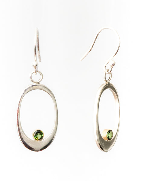 JEANIE - Green Tourmaline Silver Earrings