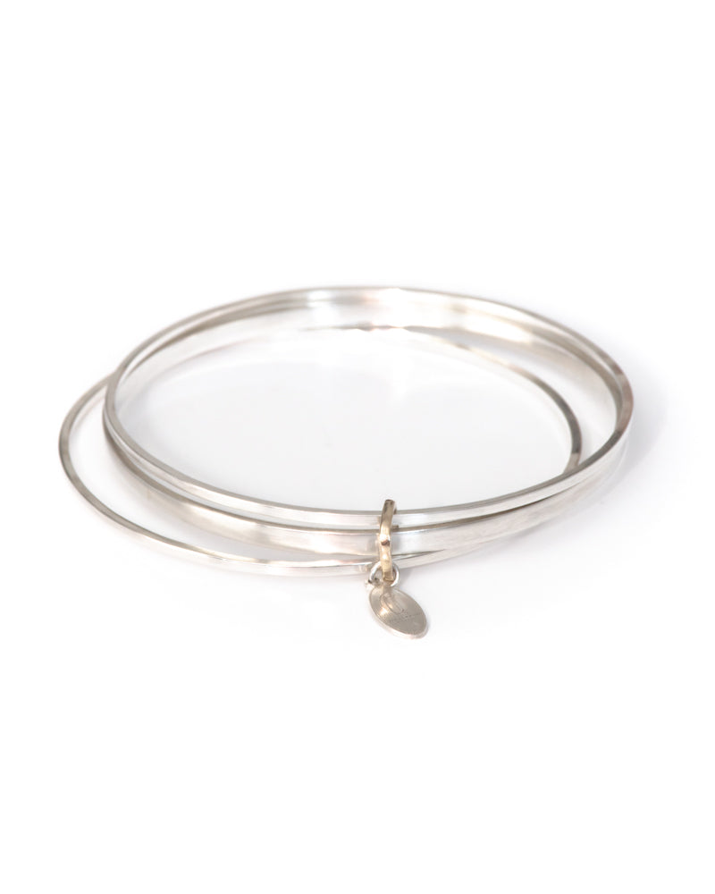 DUFFY - Sterling Silver Bangle Trio with 9ct gold