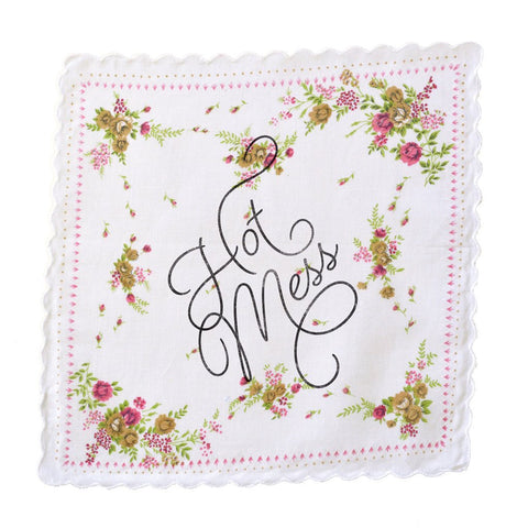 Hot Mess Retro Floral Print Cotton Handkerchief