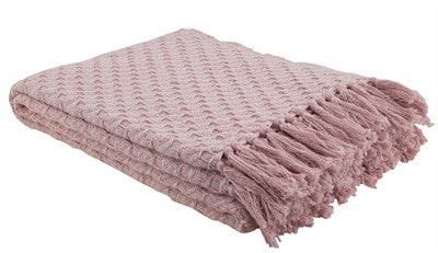 Cozy Woven Throw in Blush Pink
