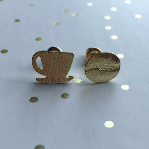 Coffee Cup & Bean Earrings