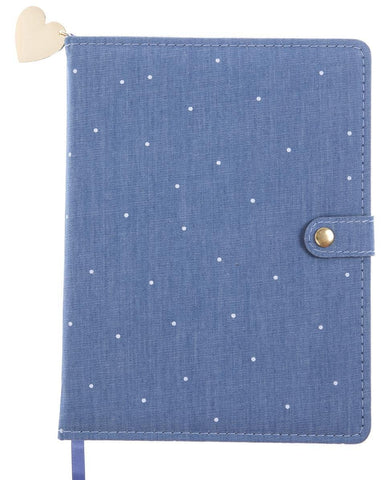 Chambray Polka Dots Snap Journal in Blue and White