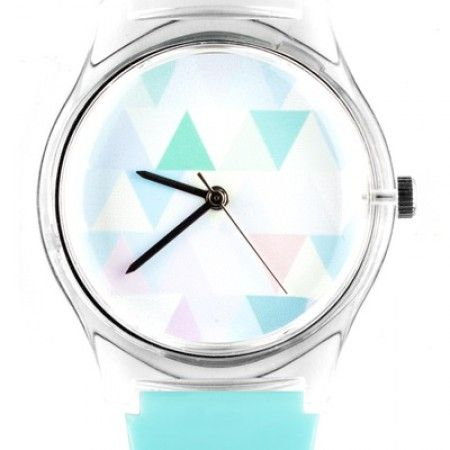 Triangular Abstract Design Watch in Light Blue